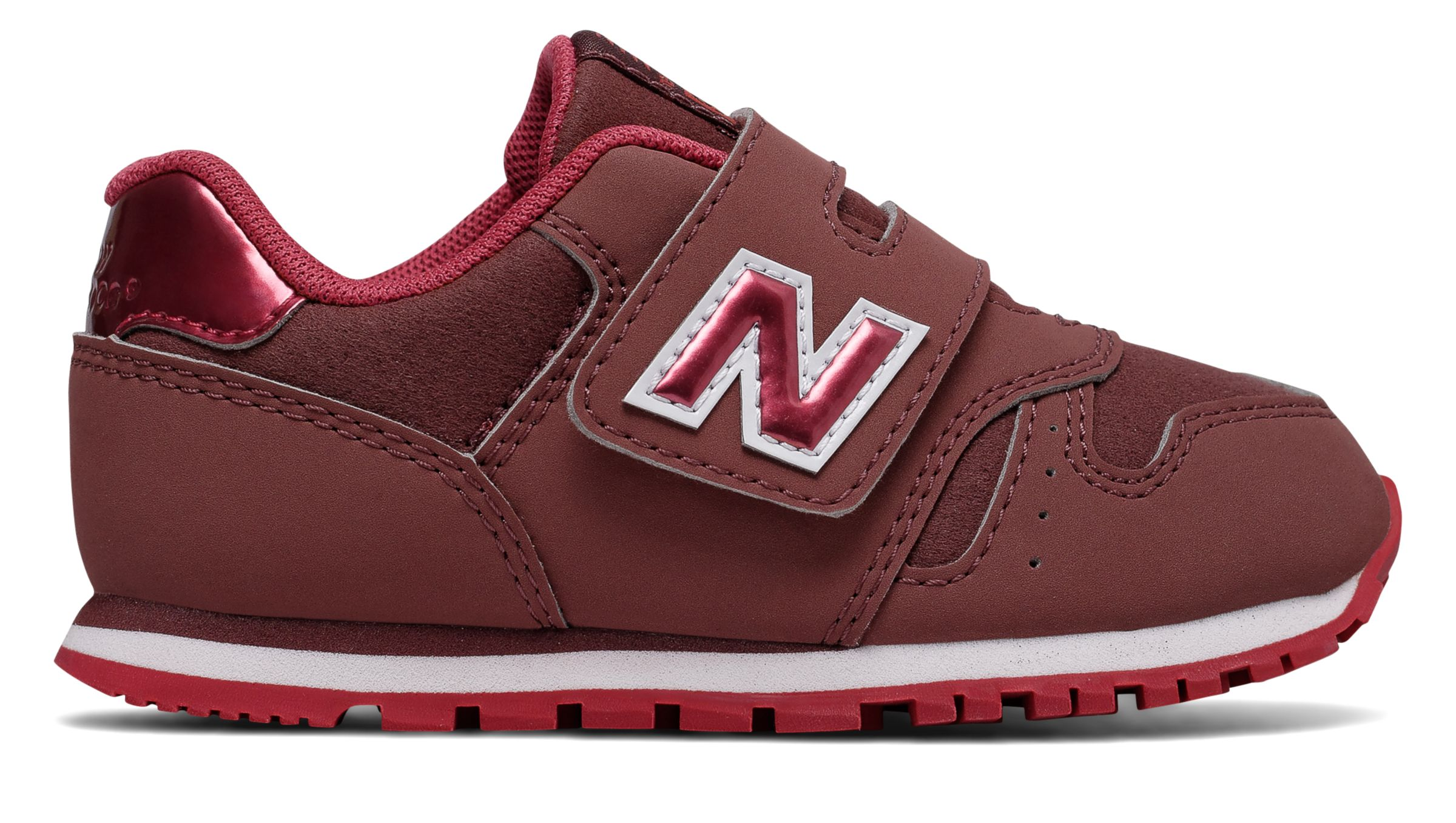 NB 373 New Balance, Dark Pink with Red