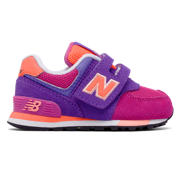 New Balance 574 Cut and Paste Hook and Loop, Pink with Purple
