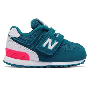 New Balance 574 Hook and Loop High Visibility, Teal with White