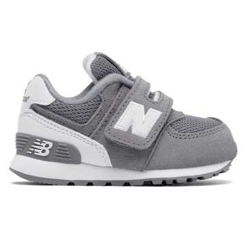 New Balance 574 Hook and Loop High Visibility, Grey with White