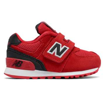 New Balance 574 Hook and Loop High Visibility, Red with Black