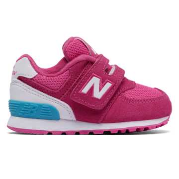 New Balance 574 Hook and Loop High Visibility, Pink Flamingo with White