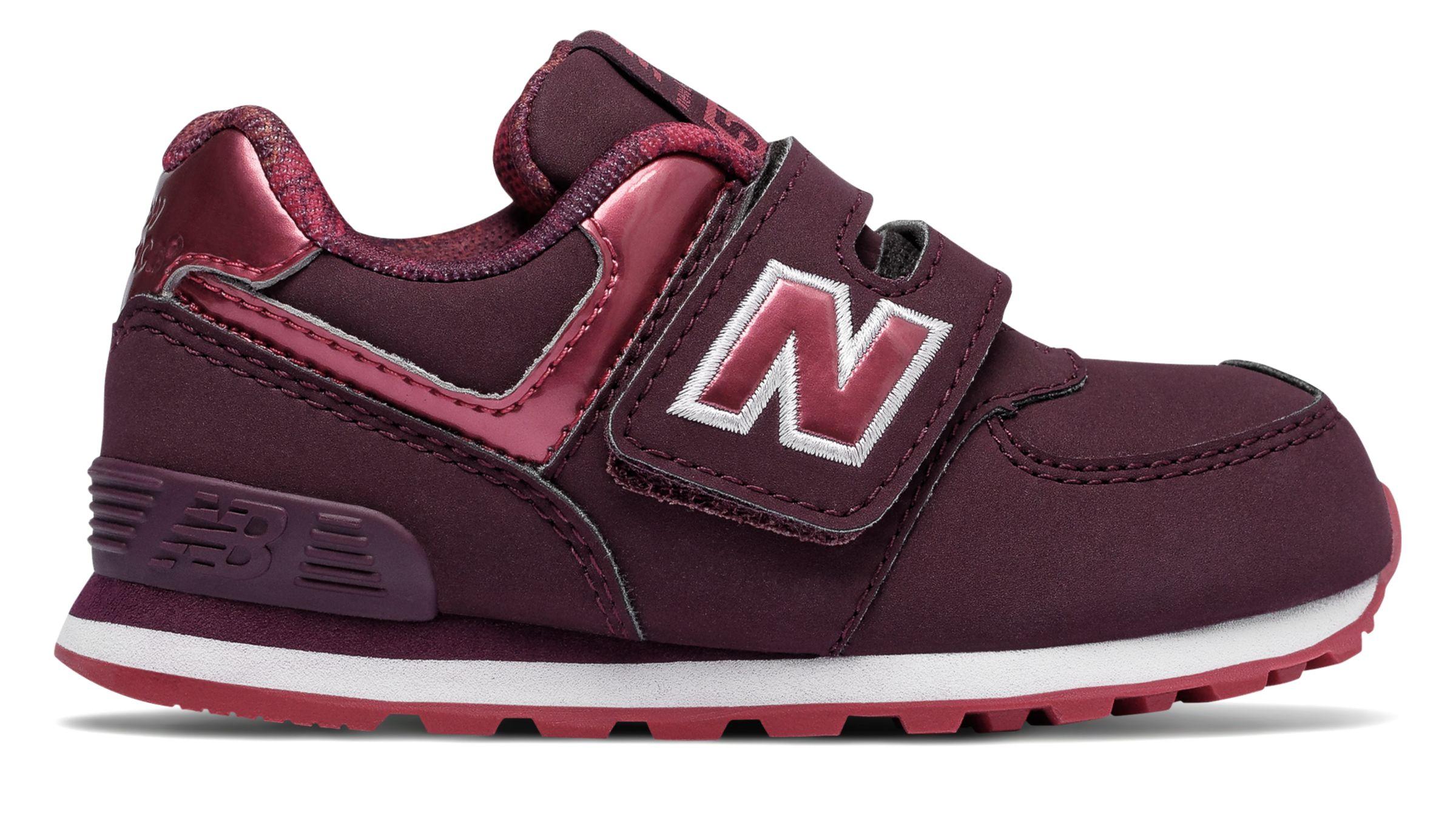 NB 574 Hook and Loop, Dark Pink with Red