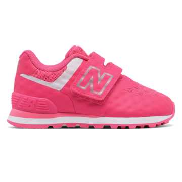 New Balance 574 Hook and Loop Breathe, Pink with White