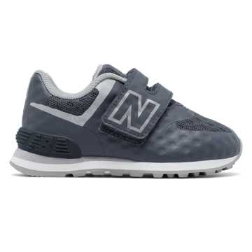New Balance 574 Hook and Loop, Grey with White