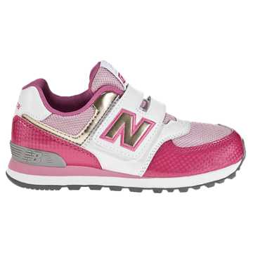 New Balance 574 Hook and Loop, Pink with White