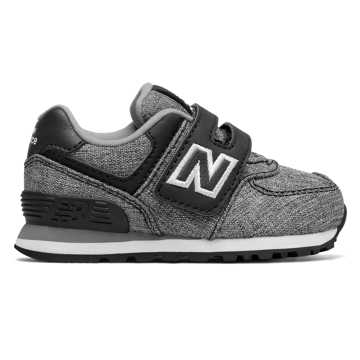 New Balance 574 Hook and Loop, Black with White