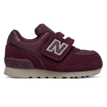 New Balance Hook and Loop 574, Burgundy with Off White