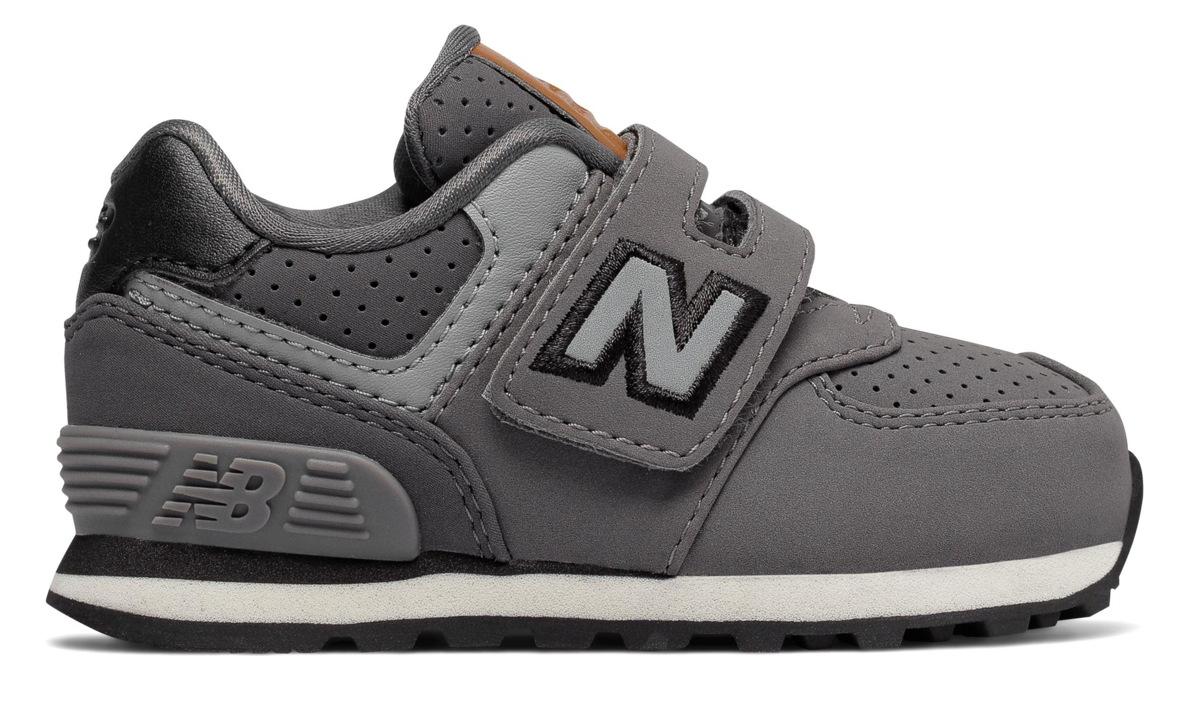 NB 574 Hook and Loop, Grey with Black