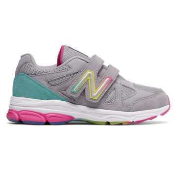 New Balance Hook and Loop 888, Silver Mink with Rainbow