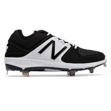 New Balance Low-Cut 3000v3 Metal Cleat, Black with White