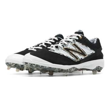New Balance Pedroia Low-Cut 4040v3 Metal Cleat, Black with Grey & White