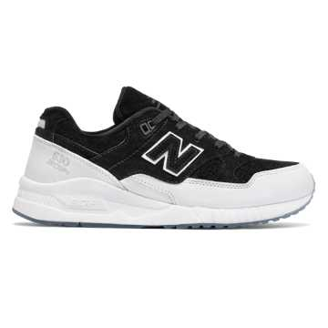 New Balance 530 Suede, Black with White