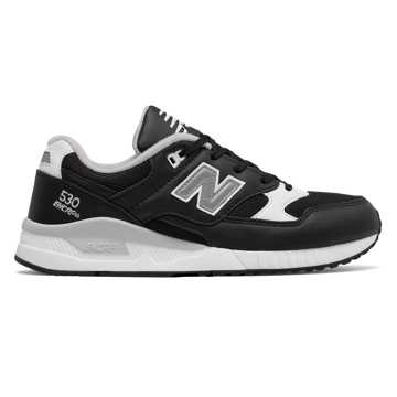 New Balance 530 Leather, Black with White & Grey