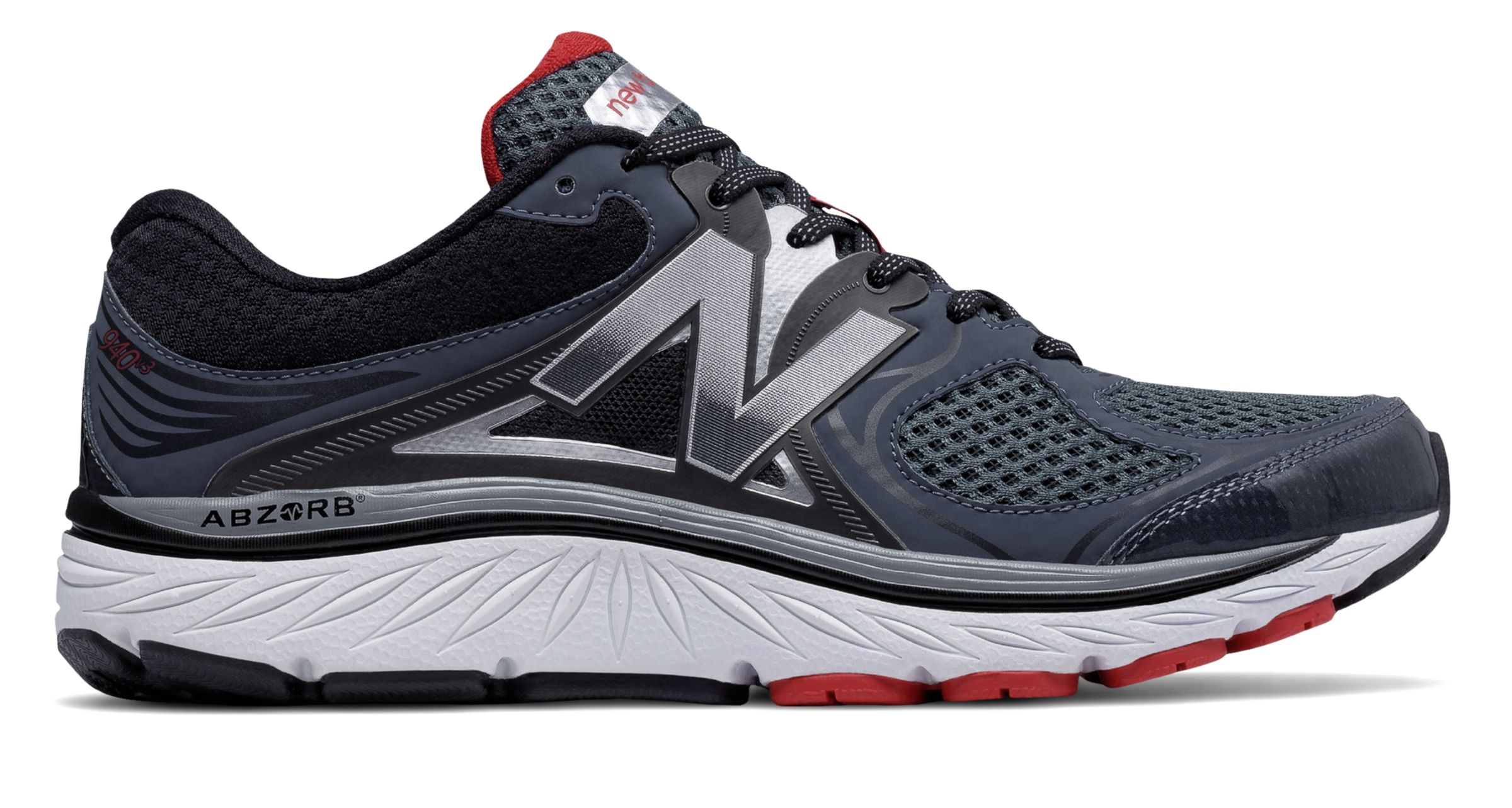 NB New Balance 940v3, Black with Red & Silver