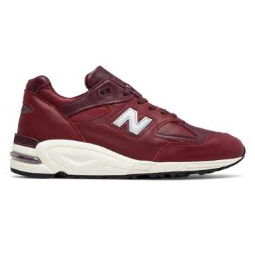 New Balance 990v2 Made in the USA, Burgundy with White