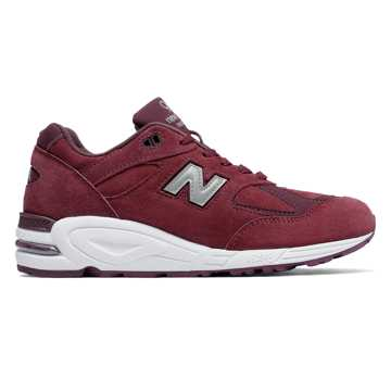 New Balance 990v2 Made in the USA Bringback Suede, Burgundy with Silver