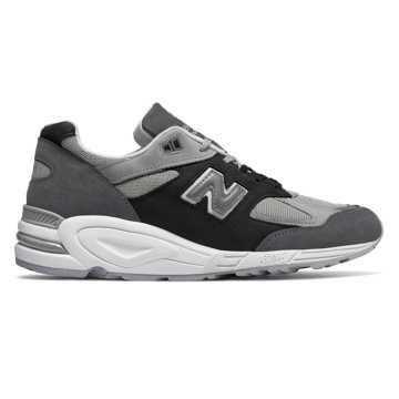 New Balance Mens 990v2 Made in US, Silver Mink with Black