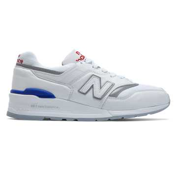 New Balance 997 Baseball, White with Blue