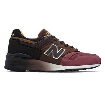 New Balance 997 Baseball, Black with Brown & Radish