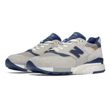 New Balance 998复古鞋 男款 避震保护 美国原产, 灰色/蓝色