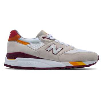 New Balance 998 Coumarin Pack, Off White with Burgundy & Red