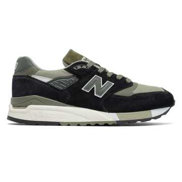 New Balance 998 Suede, Black with Sage