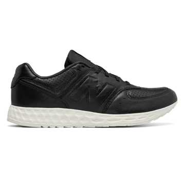 New Balance 574 Fresh Foam Leather, Black with White