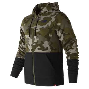 New Balance Essentials Full Zip Hoodie, Camo Green