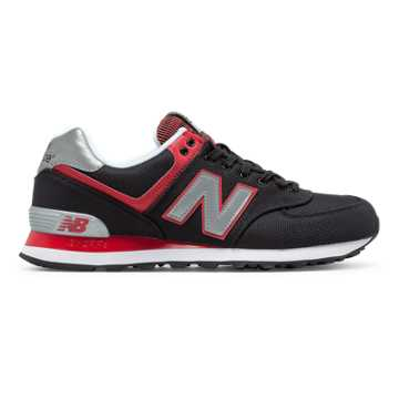 New Balance 574 Jetsetter, Black with Red
