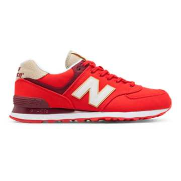 New Balance 574 Retro Surf, Red with White