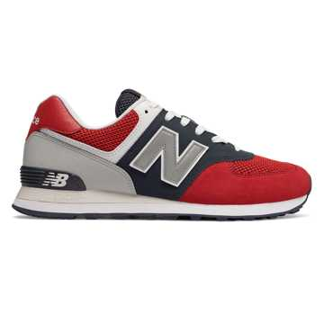 New Balance 574系列男女同款复古休闲运动鞋 经典复古, 红/黑/灰