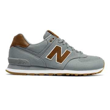 New Balance 574 15 Ounce Canvas, Grey with Brown