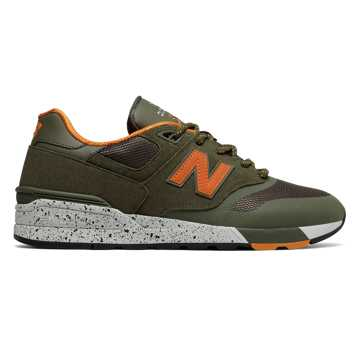 New Balance Suede 597, Military Green with Orange