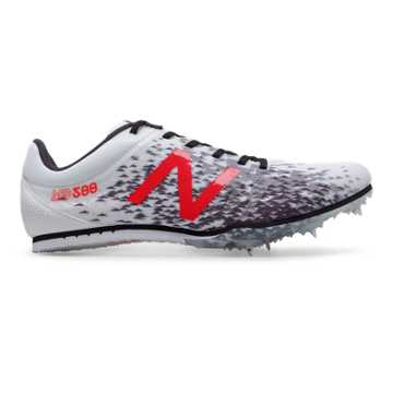 New Balance MD500v5 Spike, White with Flame & Black