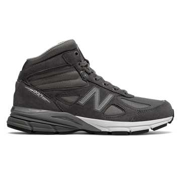 New Balance Mens 990v4 Mid Made in US, Grey with Black