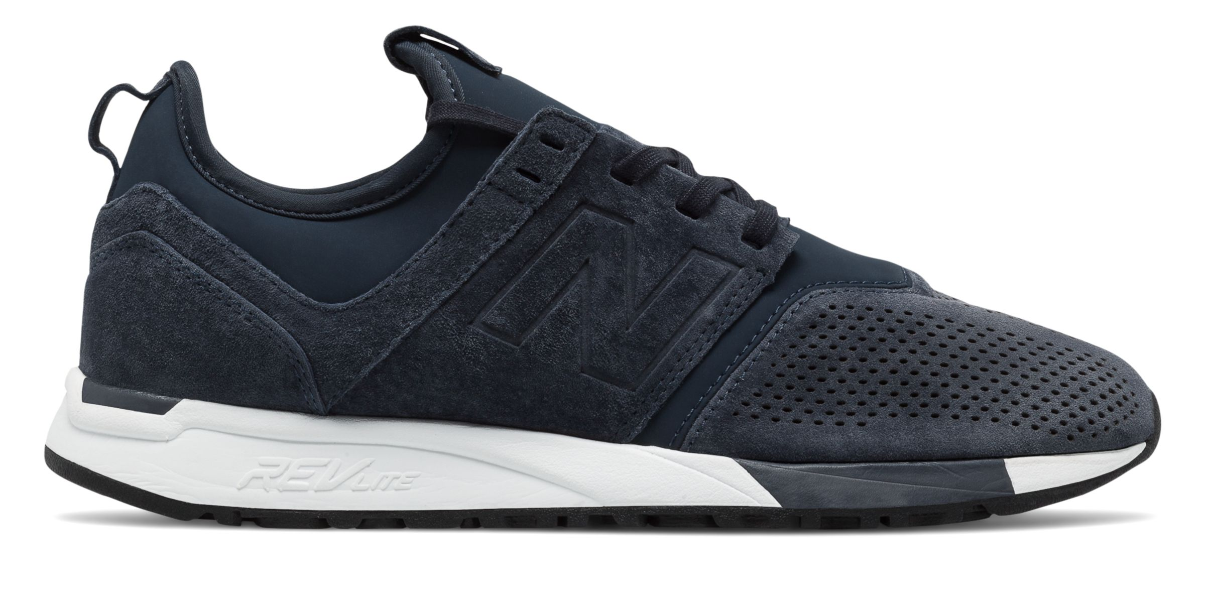 NB 247 Suede, Navy with White