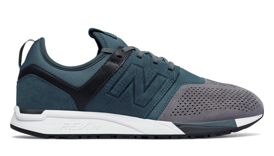 The 247 Luxe for men takes a step back to the 247\u0027s roots with design cues  from the three iconic New Balance models that inspired the original 247:  the 576, ...