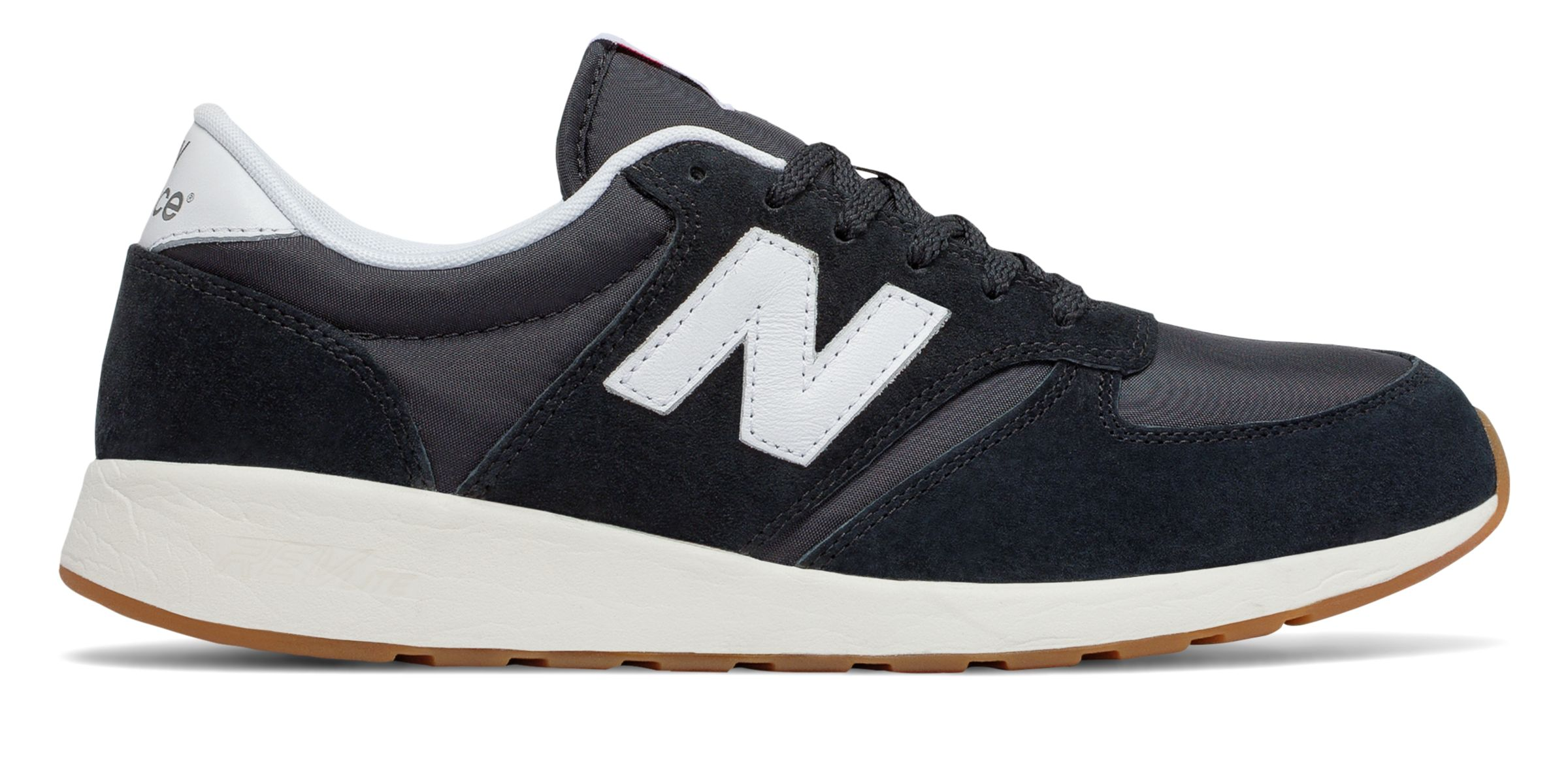 NB 420 Re-Engineered Suede, Black with White