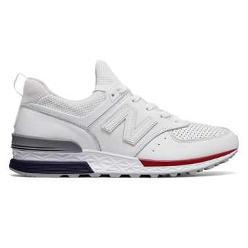 New Balance 574 Sport, White with Navy & Red