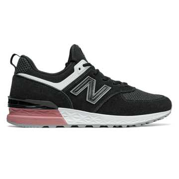 New Balance 574 Sport, Black with Dusted Peach