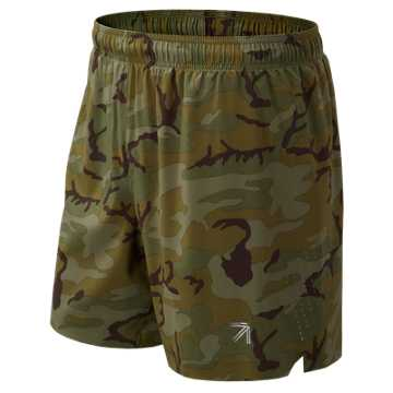 New Balance J.Crew Printed 7 Inch Shift Short, Olivcamo
