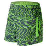 New Balance Impact 5 Inch Printed Track Short, Speed Glitch with Vintage Indigo & Energy Lime