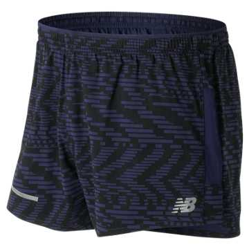 New Balance Impact 3 Inch Printed Split Short, Speed Glitch with Vintage Indigo