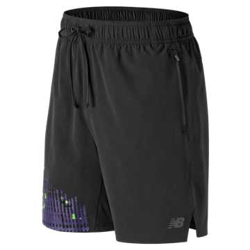 New Balance Max Intensity Short, Black Multi with Pigment & Energy Lime