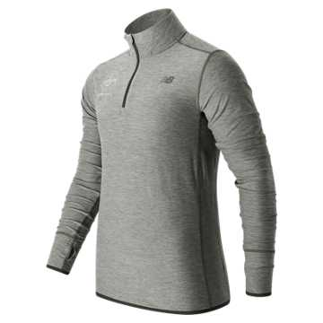 New Balance Brooklyn Half Transit Qtr Zip, Athletic Grey with White