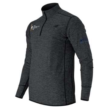 New Balance NYC Marathon N Transit Quarter Zip, Black Heather
