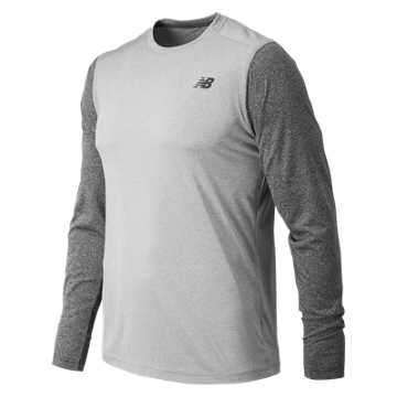 New Balance Long Sleeve Heather Tech Tee, Athletic Grey with Black Heather