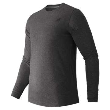 New Balance Long Sleeve Heather Tech Tee, Black Heather
