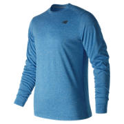 New Balance Long Sleeve Heather Tech Tee, Electric Blue Heather